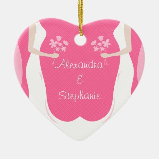 Novias lesbianas personalizadas adorno de cerámica en forma de corazón