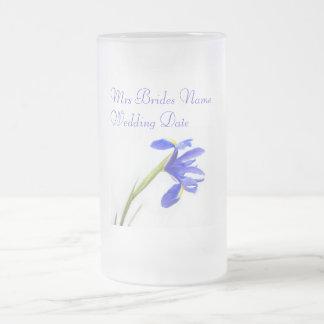 Novias que casan el vidrio - flor púrpura del iris tazas