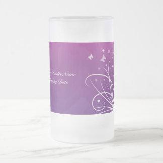 Novias que casan el vidrio - remolino púrpura de l taza de café