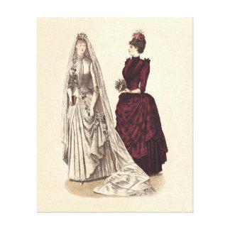 Novias y dama de honor nupciales del fiesta del vi impresión de lienzo