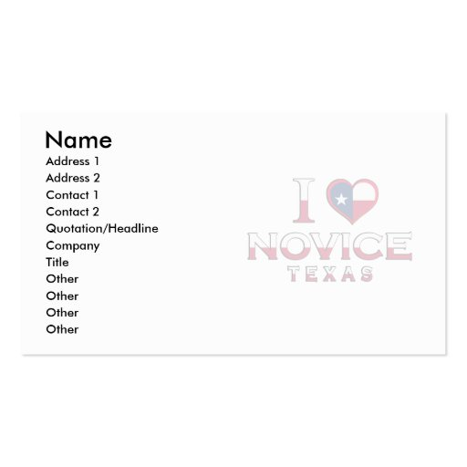 Novice, Texas Double-Sided Standard Business Cards (Pack Of 100)