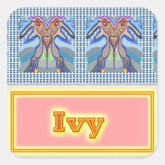 NOVINO Artistic Star Text Square Sticker