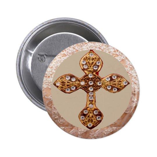 NOVINO Cross with Diamonds Pinback Button