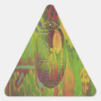 NOVINO Green n Gold ReikiHealingArt Triangle Sticker