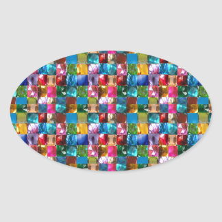 NOVINO Jewel Crystal Stones Healing Reiki Art GIFT Oval Sticker