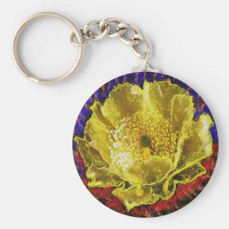 NOVINO - Oro de la obsesión floral Llavero Redondo Tipo Pin