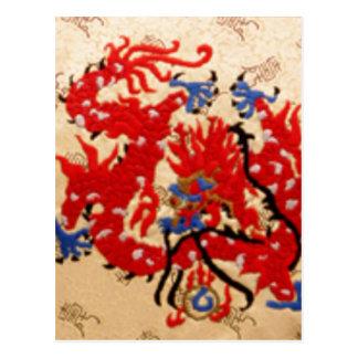 NOVINO Red n Gold Dragons Postcard