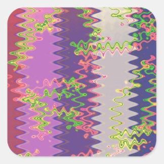 NOVINO Soft Purple Pink Wave Graphic Print GIFTS Square Sticker