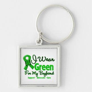Novio - cinta verde de la conciencia llavero cuadrado plateado