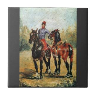 Novio con dos caballos por Toulouse-Lautrec Azulejos Cerámicos