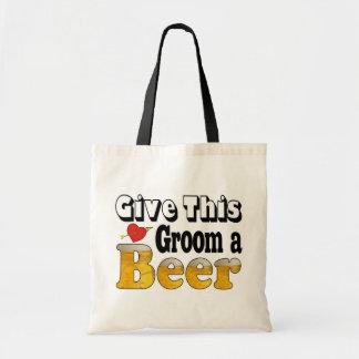 Novio de la cerveza bolsa tela barata