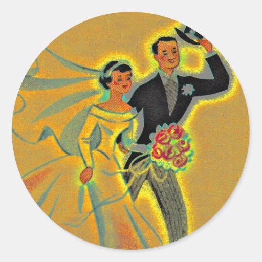 Novio de la novia de los pares del boda del pegatina redonda