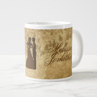 Novio de la novia del boda del vintage érase una v taza grande