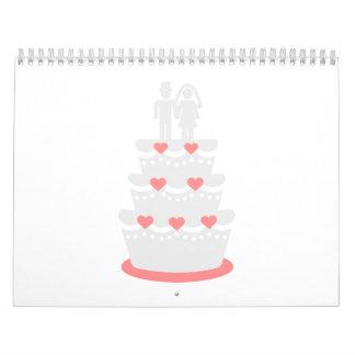 Novio de la novia del pastel de bodas calendario de pared