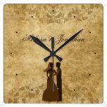 Novio de papel de la novia del vintage que se casa reloj