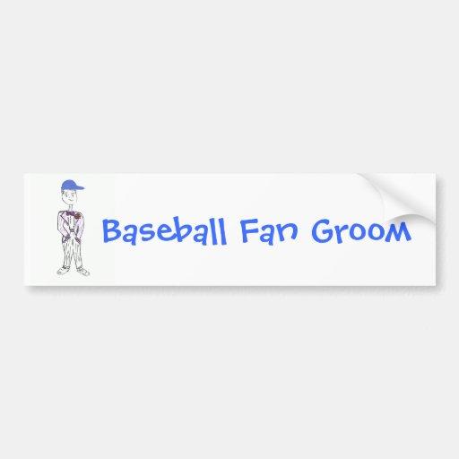 Novio del aficionado al béisbol etiqueta de parachoque