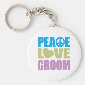 Novio del amor de la paz llavero redondo tipo pin