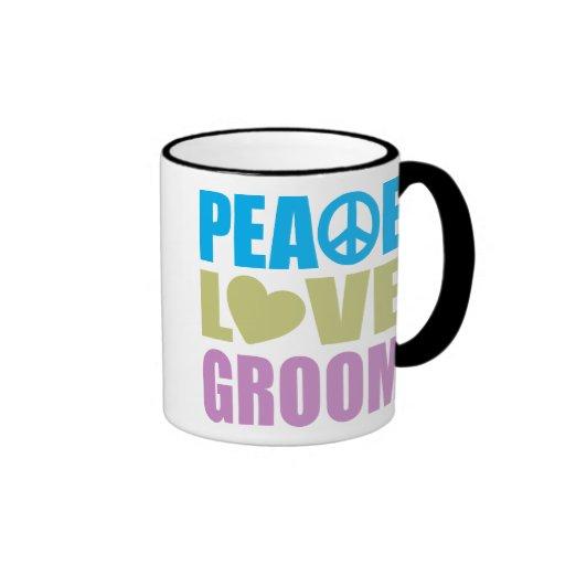 Novio del amor de la paz taza de dos colores