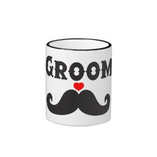 Novio del bigote taza de café