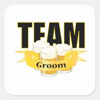 Novio del equipo - cerveza pegatina cuadrada