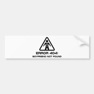 Novio del error 404 no encontrado pegatina para auto