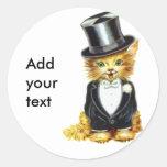 Novio del gato etiquetas redondas