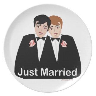 Novio del matrimonio homosexual platos de comidas
