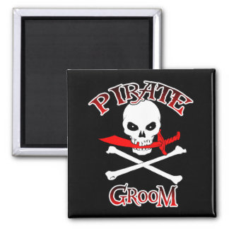 Novio del pirata imán cuadrado