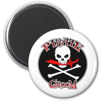 Novio del pirata imán redondo 5 cm