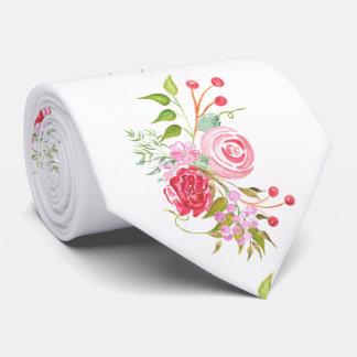 Novio floral de la mezcla de la acuarela color de corbata