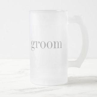 Novio gris del texto taza de cristal