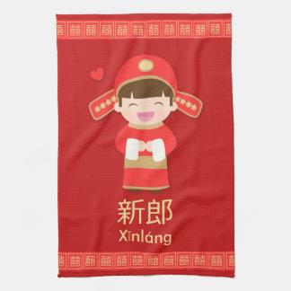 Novio lindo del boda del chino tradicional para él toallas de mano