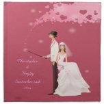 Novio mágico de la novia y boda rosado de los cora servilletas imprimidas