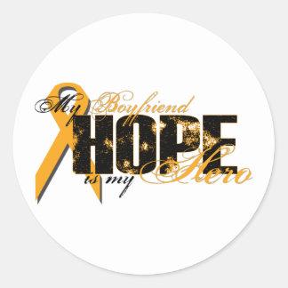 Novio mi héroe - esperanza de la leucemia pegatina redonda