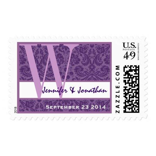 Novio púrpura de la novia del monograma W del boda Sello