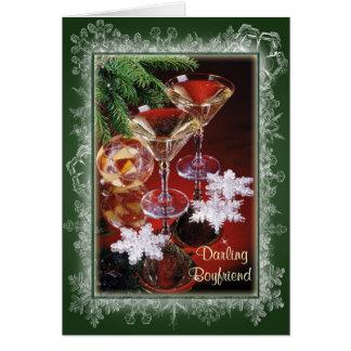 Novio. Tarjeta de Navidad romántica. Vidrios de vi