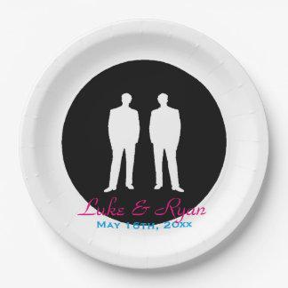 Novio y boda gay del novio platos de papel