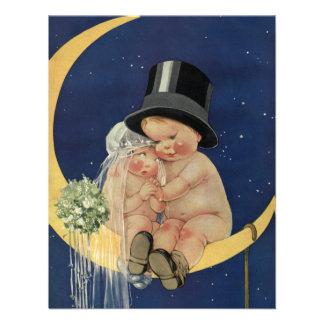 Novio y luna lindos, ducha nupcial de la novia del comunicados personales