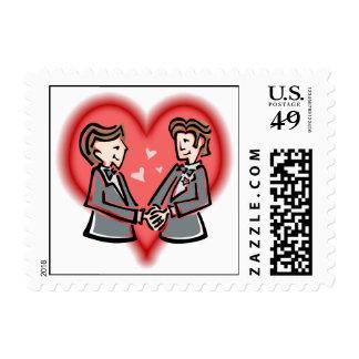 Novios apuestos timbre postal