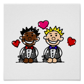 Novios BI-Raciales del gay Póster