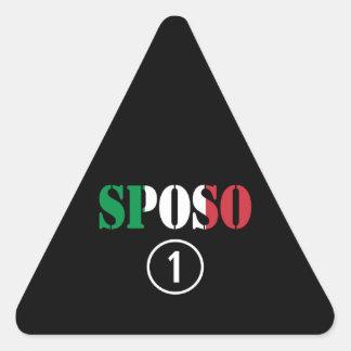 Novios del italiano: Uno de Sposo Numero Calcomanías Triangulos Personalizadas