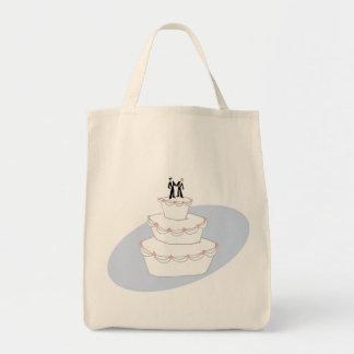 Novios del pastel de bodas dos bolsa tela para la compra