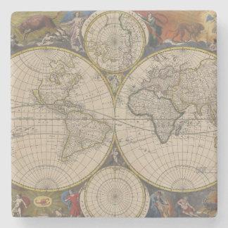 Novissima Totius Terrarum Orbis Tabula Map Stone Beverage Coaster