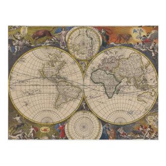 Novissima Totius Terrarum Orbis Tabula Map Postcard
