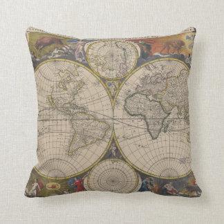 Novissima Totius Terrarum Orbis Tabula Map Throw Pillow