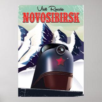 novosibirsk locomotive travel poster