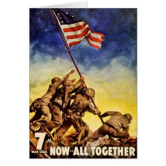 Now all together Vintage War Poster Restored Card