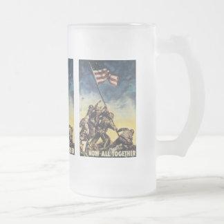 Now All Together World War 2 16 Oz Frosted Glass Beer Mug