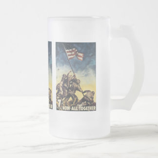 Now All Together World War 2 Frosted Glass Beer Mug