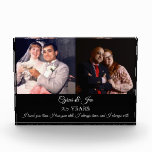 "Now and Then Photos Silver Text Anniversary Photo<br><div class=""desc"">Commemorate that special Anniversary with this photo block designed to display then and now photos with your name,  anniversary and special quote. A great gift for Mom & Dad,  a special couple,  or your special someone! Text is fully customizable to say just what you want.</div>"